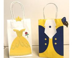 Beauty and the Beast Party Bags (Belle & Beast) Disney princess Birthday goody bags Beauty And Beast Birthday, Beauty And The Beast Theme, Beauty Beast, Baby Girl Shower Themes, Girl Themes, 3rd Birthday, Birthday Parties, Party Favor Bags, Goody Bags