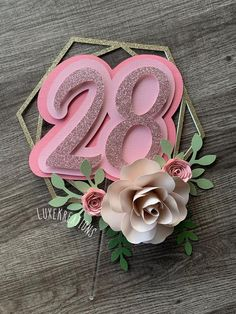 Discover recipes, home ideas, style inspiration and other ideas to try. Flower Cake Toppers, Diy Cake Topper, Birthday Cake Toppers, Cupcake Toppers, Fondant Flower Cake, Fondant Bow, Cake Topper Tutorial, Cake Birthday, Fondant Cakes