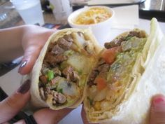California Burrito anyone? Why yes...those are french fries you see in there!!! Don't knock it 'til you try it! DELICIOUS!!!