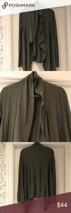 Helmet Lang green cotton cardigan- great condition Army green super soft cotton drape front cardigan. Longer in front than back. 80% modal 20% nylon. Fabulous color for fall and looks great with jeans or leggings. Barely worn and in excellent condition. Helmut Lang Sweaters Cardigans