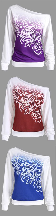 Long Sleeve Ombre Printed Sweatshirt