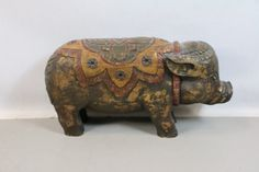 "shopgoodwill.com - #36836604 - 18"" Hand Carved & Painted Pig Sculpture - 2/5/2017 7:48:00 PM"