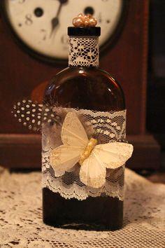Vintage Butterfly Bottle. $16.00, via Etsy.