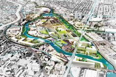Image 1 of 11 from gallery of PORT Urbanism and Companies Propose Plan to Revitalize Chicago's Goose Island. An oblique aerial view of the Goose Island proposal. Image Courtesy of PORT Historical Architecture, Landscape Architecture, Landscape Designs, Denver City, Pedestrian Bridge, Urban Planning, Park City, Aerial View, The Neighbourhood