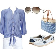 Blue and white boating outfit - Polyvore
