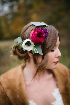 Luxe Winter Wonderland Wedding Inspiration from Emily Millay Photography and A Charming Fete. Wedding Hair And Makeup, Wedding Beauty, Bridal Makeup, Flower Crown Wedding, Wedding Flowers, Crown Photos, Jewel Tone Wedding, Wedding Hairstyles With Veil, Garden Party Wedding