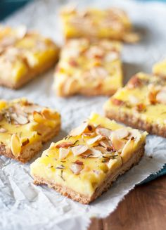 Rosemary lemon bars with almond shortbread crust