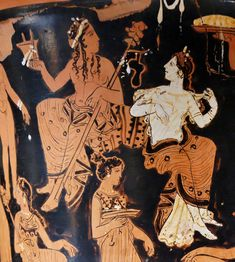 Dionysos and Ariadne. Detail from the side A of an Attic red-figure calyx-krater, ca. 400-375 BC. From Thebes. Ariadne Greek Mythology, Greek And Roman Mythology, Greek Gods, Dead Can Dance, Aphrodite, Art Antique, Folk, Minoan, Historical Art