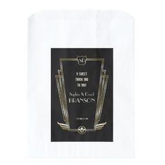 Royal Gold Art Deco Monogram Wedding THANK YOU Favor Bag - thank you gifts ideas diy thankyou