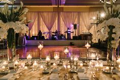 His & Her view from this dreamy, candle lit estate table! Wedding Ceremony, Reception, Grand Hyatt, White Lilies, Table Flowers, Atlanta Wedding, Photo Look, Flower Crown, Wedding Details