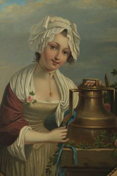 19th c. Continental,  portrait of a maiden