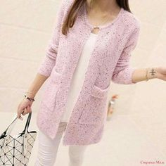 Long Cardigan Women 2016 New Fashion Autumn Winter Sweater Women Long Sleeve Knitted Cardigan Female Tricot Women Clothes - Ирина Храбрых - Boutiquede Femme Fall Sweaters, Casual Sweaters, Long Sweaters, Cardigan Sweaters, Handgestrickte Pullover, Collars For Women, Style Casual, Mode Hijab, Crochet Cardigan