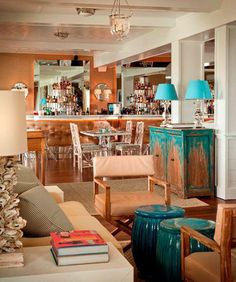 Lobby and dining room at The Tides Beach Club in Maine. The link is info & sources on recreating the look. :)