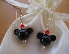 Minnie Mouse Earrings, Mickey Mouse Earrings, Disney Earrings, Cruise Earrings, Mouse Earrings, Handmade Lampwork Earrings, Animal Earrings