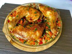 Kurczak pieczony na ryżu z warzywami - Blog z apetytem Snack Recipes, Snacks, One Pot Pasta, Ratatouille, Salmon Burgers, Paella, Food And Drink, Menu, Chicken