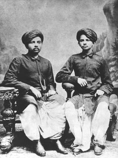 Gandhi with his brother, Laxmidas in India, 1886.