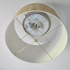 Replace your boring dome light with a pretty lampshade Young House Love Young House Love, Diy Drums, Diy Light Fixtures, Ceiling Fixtures, Up House, Diy On A Budget, Drum Shade, Light Shades, Lamp Shades