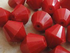 Vintage Glass Bead Dark Red Bicone German Beads