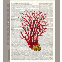 Vintage Red CORAL3 ARTWORK printed on Repurposed by RococcoCo, $9.95