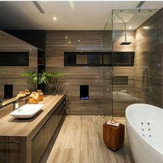 Luxury Contemporary Bathroom, CH House by GLR Arquitectos Wooden Bathroom, Bathroom Renos, Bathroom Ideas, Bathroom Designs, Brown Bathroom, Master Bathroom, Bathroom Storage, Cozy Bathroom, Master Baths