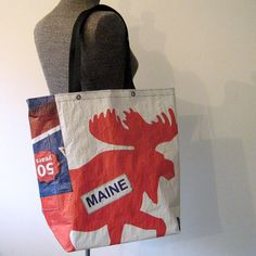 Recycled Maine Moose Lumber Wrap Tote by OneWomanStudio on Etsy