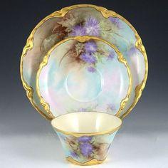 Haviland Limoges trio with hand painted asters