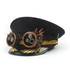 37f22ee4bd Sombrero o gorra marinera estilo steampunk en diferentes medidas, con gafas  incorporadas y orlas en