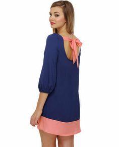 Cute Blue Outfits | Cute Blue Dress - Shift Dress - Color Block Dress - $35.00 on Wanelo
