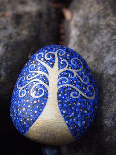 Tree of Life Stone / Painted Stone / Night Sky Tree / by mitsel8