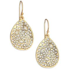Alexis Bittar Miss Havisham Crystal Teardrop Earrings ($125) ❤ liked on Polyvore featuring jewelry, earrings, apparel & accessories, gold, gold tone jewelry, swarovski crystal earrings, crystal jewelry, crystal earrings and alexis bittar jewelry