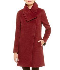 Katherine Kelly Alpaca Blend Envelope Collar Walker Coat #Dillards