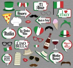 Italian Party props, diy photo booth printables - 13 x Speech Bubbles, 22 x Items Just purchase the Little Italy Party, Italy Party Theme, Ideas Scrapbooking, Italian Party Decorations, Italian Themed Parties, Italian Party Themes, Party Mottos, Italian Night, Party Props