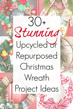 Get all the inspiration you need for Christmas wreath ideas this holiday season with this amazing collection of upcycling ideas and repurposed projects! Wreath Crafts, Diy Wreath, Wreath Ideas, Wreath Making, Vintage Christmas, Christmas Crafts, Christmas Decorations, Christmas Ideas, Holiday Decorating