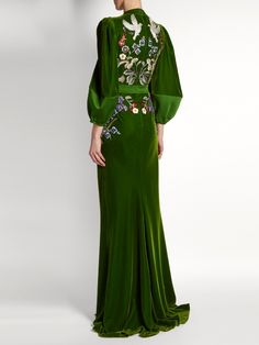 Alexander McQueen Deep V-neck embroidered velvet gown