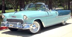This Glacier Blue over Skyline Blue Bel Air Convertible is equipped with a 283 and Powerglide transmission. Chevy build of this model 1955 Chevy Bel Air, 1955 Chevrolet, Chevrolet Bel Air, Chevrolet Trucks, Ford Trucks, 4x4 Trucks, Chevrolet Impala, Lifted Trucks, Chevy Classic