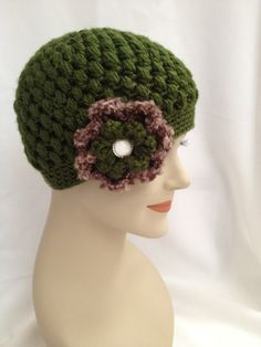 Crochet Beanie  Green Puff with Flower by NydiaFierroDesigns, $20.00