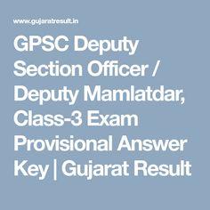 GPSC Deputy Section Officer / Deputy Mamlatdar, Exam Provisional Answer Key Chief Officer, Exam Answer, Key, Reading, Unique Key, Reading Books