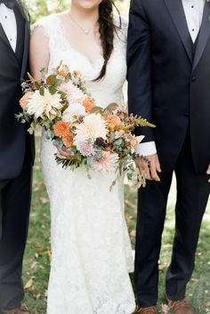 Autumn bridal bouquet with nude and persimmon hues and lots of texture. Grown and designed by Love 'n Fresh Flowers.  Photo by Maria Mack Photography.