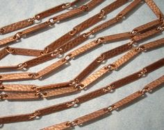 Copper Coated Hammered Link Bar Chain (20ft)