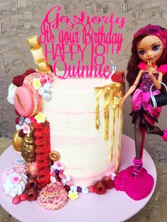 Monster High 18th Birthday cake with gold drip