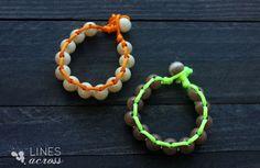 Lines Across: Neon and Wood Floating Bead Bracelet