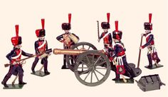 N3A Toy Soldiers Set French Horse Artillery    An Officer and five Gunners in action with field gun Of the Guard 1812    54mm French troops Napoleonic Wars    All hand painted Toy Soldier sets packed in Red Boxes  Cast in quality white metal, hand painted gloss enamels  Available as unpainted casting, kit with colour photo.