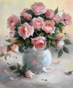 easy acrylic painting ideas for beginners Oil Painting Flowers, Watercolor Flowers, Painting & Drawing, Watercolor Paintings, Oil Paintings, Roses Painting Acrylic, Acrylic Flowers, Watercolor Artists, Indian Paintings