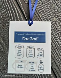 Kitchen measurements cheat sheet bookmark