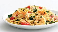Garlic Shrimp Pasta: 68% less sat fat • 31% fewer calories • 70% more vitamin A  than the original recipe—see the comparison. A restaurant-inspired favorite tastes just as rich and flavorful as the original, but won't tax your tummy!  6 servings