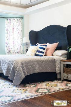Blush, Navy, Yellow Master Bedroom Headboard DIY
