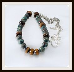 Rainbow Calsilica Necklace with Tiger Eye by BlingbyDonna on Etsy