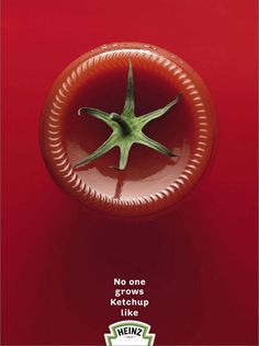 """Image and Type-Kylie Storts: This is an advertisement for Heinz ketchup. I love the way they created the """"tomato"""" out of a ketchup bottle flipped upside down. The minimal text just to put in their slogan works very well."""