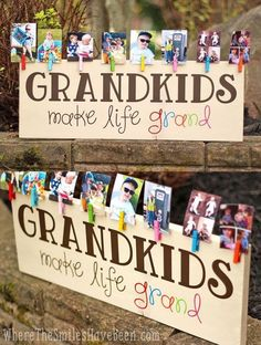 Colorful Grandkids Make Life Grand Wood Sign Photo Display How CUTE! This is such a great gift idea for Grandparent's Day, Mother's Day, Father's Day, Christmas, or anytime! 'Grandkids Make Life Grand' Wood Sign Photo Display Diy And Crafts, Craft Projects, Crafts For Kids, Crafts For Sale, Craft Ideas, Easy Crafts, 31 Ideas, Diy Vinyl Projects, Wood Projects That Sell