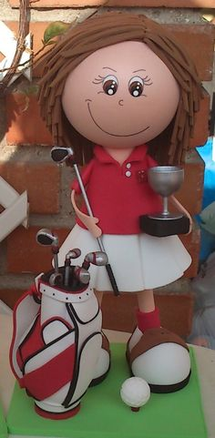 Jugadora de Golf con bolsa